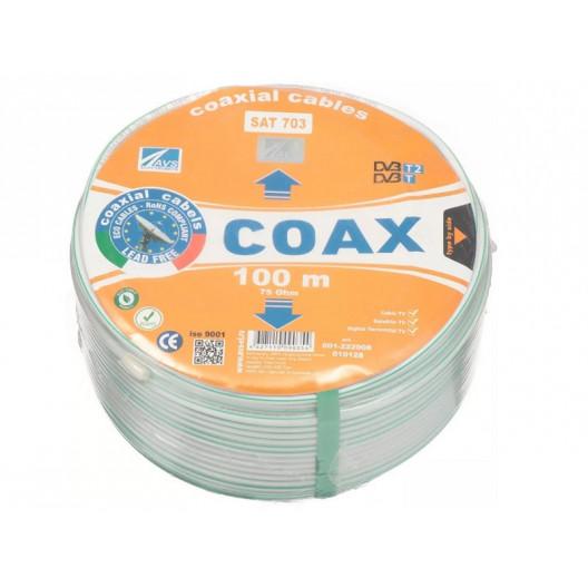 Кабель коаксиальный SAT 703E, AVS 75Ом, COAX